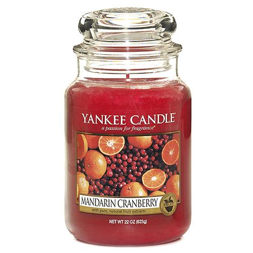 Svíčka ve skleněné dóze Yankee Candle Mandarinky s brusinkami, 623 g