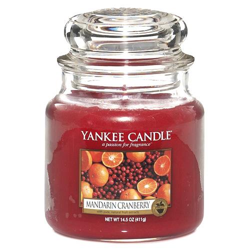 Svíčka ve skleněné dóze Yankee Candle Mandarinky s brusinkami, 410 g