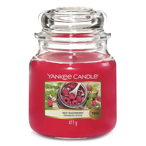 Svíčka ve skleněné dóze Yankee Candle Červená malina, 410 g