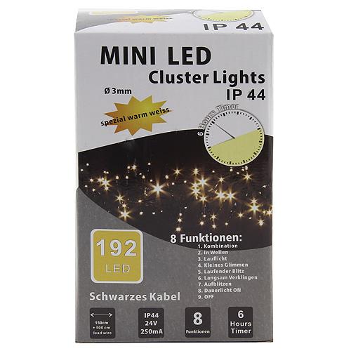 Vánoční řetěz Idena 192x LED dioda, celková délka 1,5m, teplé bílé světlo