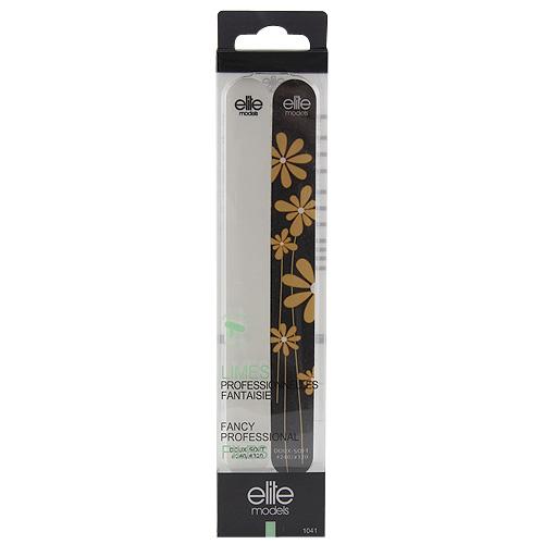 Pilníky na nehty 2 ks Elite Models ASST 2ks, soft, bílý/černý s květinou, 18cm, plastový obal