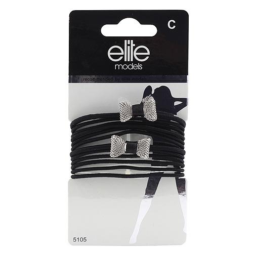Gumičky Elite Models 8ks, černé + 2 stříbrné mašle