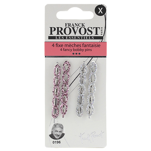 Pinetky do vlasů Franck Provost 4ks, růžové - stříbrné, 4,5cm