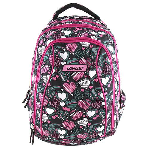Školní batoh 2v1 Target Srdce, barva růžovo-zelená.