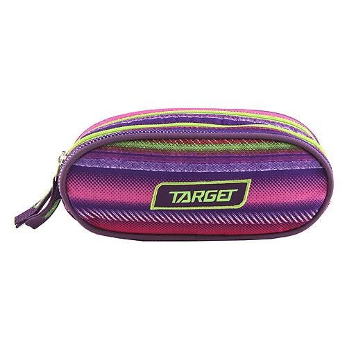 Školní penál Target Barevné pruhy, růžovo/zelený