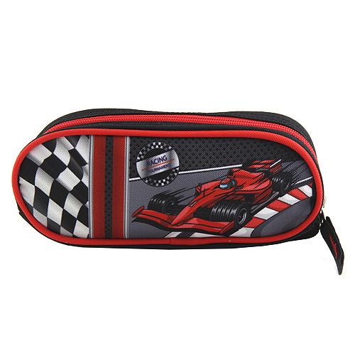 Školní penál Target Formule, barva šedo/červená.