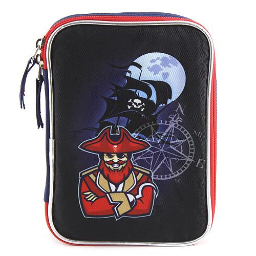 Školní penál s náplní Target Pirates , barva tmavomodrá