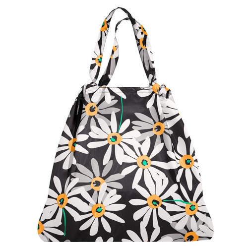 Skládací taška Reisenthel Černá s motivem květin, mini maxi loftbag
