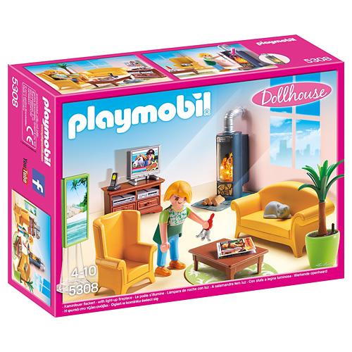 Obývací pokoj s krbem Playmobil Dům pro panenky, 35 dílků, 35 dílků