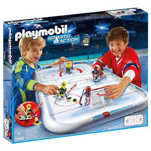 Stolní lední hokej Playmobil 4 hokejisté s doplňky a ledová plocha, 76 dílků