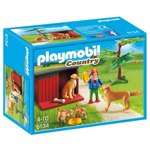 Zlatý retriever se štěňaty Playmobil panáček s doplňky, 15 dílků