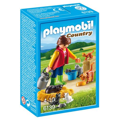 Dívka s kočičí rodinou Playmobil panáček s doplňky, 17 dílků