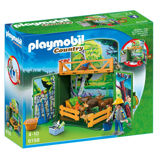 Krmení lesní zvěře Playmobil zavírací box, 1 panáček s doplňky, 64 dílků