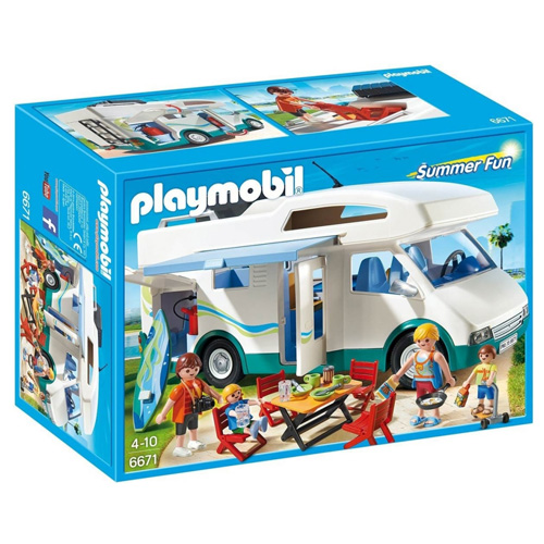 Rodinný obytný vůz Playmobil Prázdniny - karavan a 4 panáčci s doplňky, 93 dílků