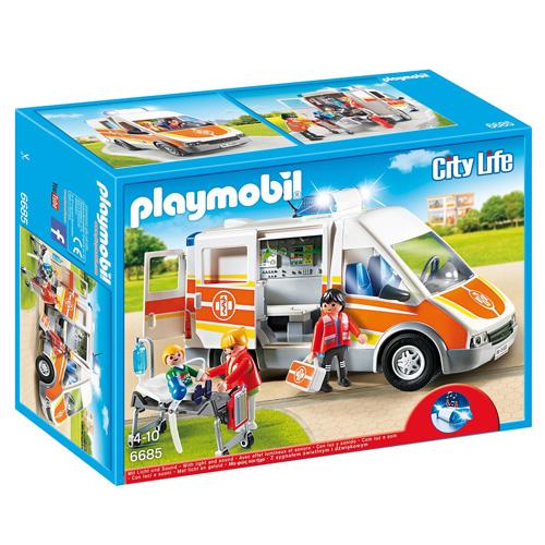 Sanitka s majákem a houkačkou Playmobil Záchranáři, 54 dílků