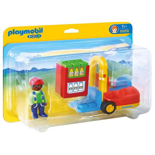 Vysokozdvižný vozík Playmobil s panáčkem, 4 dílky