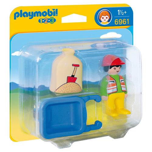 Stavební dělník Playmobil panáček s kolečkem, 4 dílky