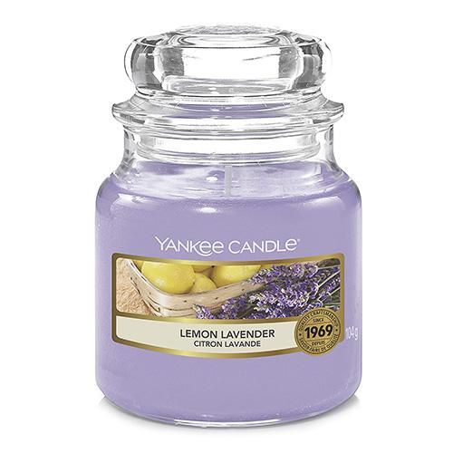 Svíčka ve skleněné dóze Yankee Candle Citrón a levandule, 104 g