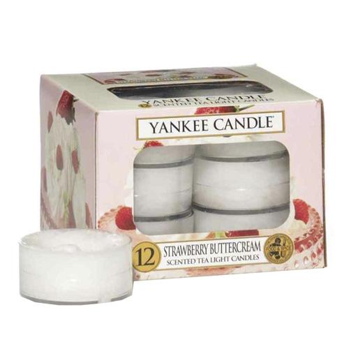 Svíčky čajové Yankee Candle Jahody se šlehačkou, 12 ks