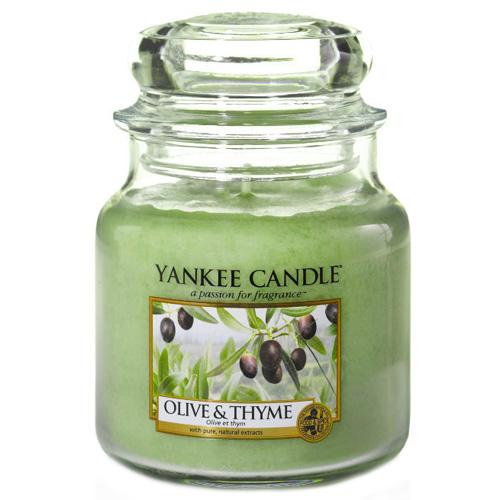 Svíčka ve skleněné dóze Yankee Candle Olivy a tymián, 410 g