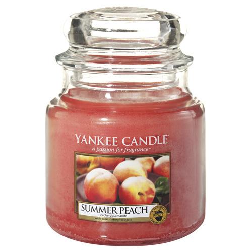 Svíčka ve skleněné dóze Yankee Candle Letní broskev, 410 g
