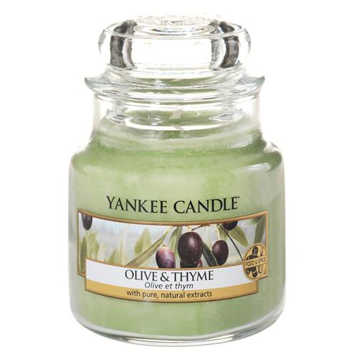 Svíčka ve skleněné dóze Yankee Candle Olivy a tymián, 104 g