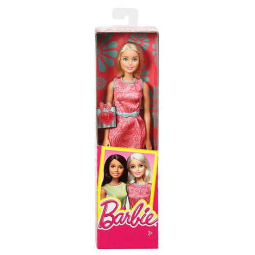 Barbie dárková Mattel Růžové šaty - s prstýnkem