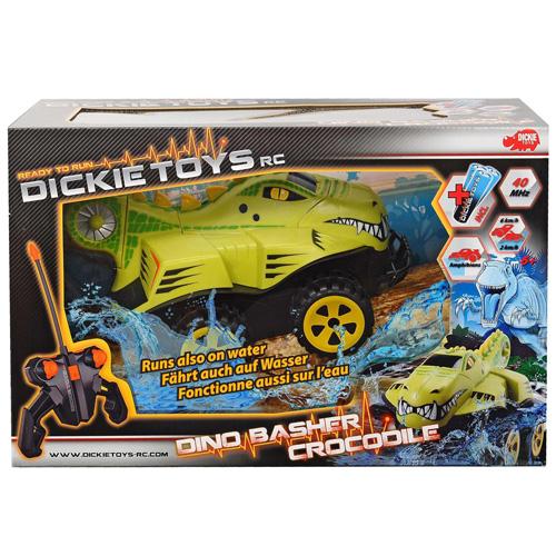 Auto na dálkové ovládání Dickie RC Dino krokodýl, 25 cm, obojživelný 4x4, zelená