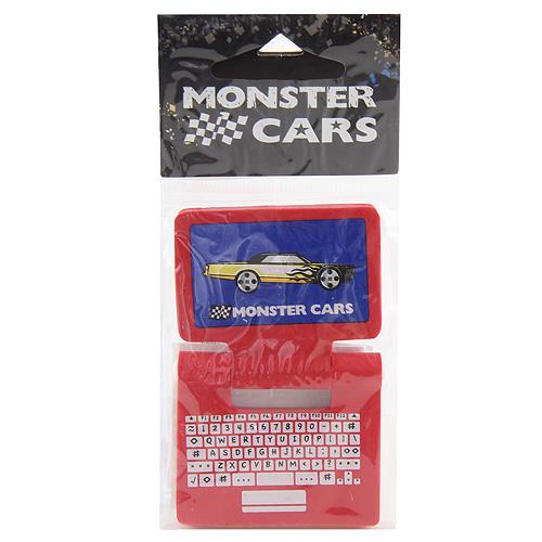 Gumovací pryž Monster Cars červená, ve tvaru laptopu