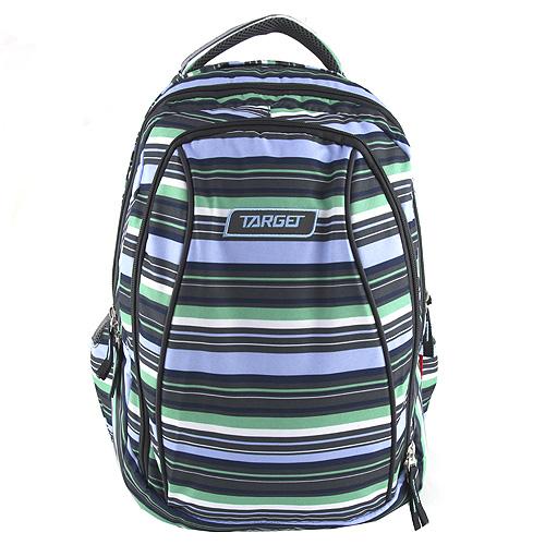 Školní batoh 2v1 Target Pruhovaný, černo-modro-zelený