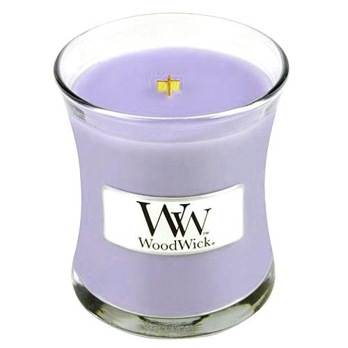 Svíčka oválná váza WoodWick Šeřík, 85 g