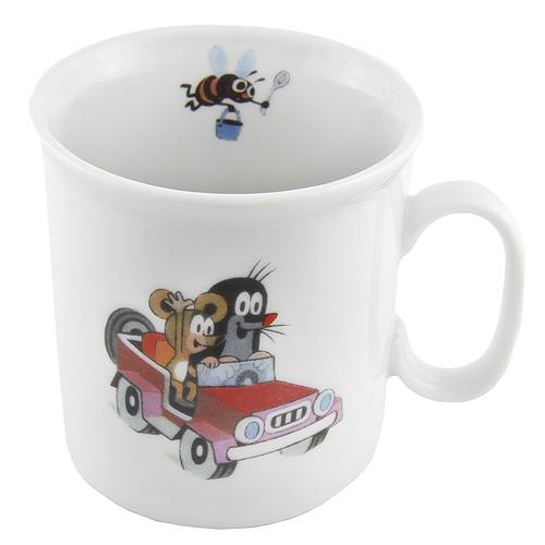 Hrneček Krteček Krteček v autíčku - kvalitní porcelánový hrneček v kartonové