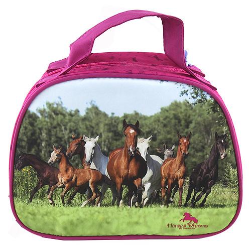 Kosmetická taštička          Horses Dreams Růžová s obrázkem stáda koní