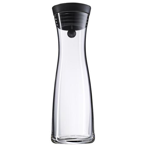 Karafa na vodu WMF Objem 1 l - skleněná karafa Basic, barva černá, stříbrné víč