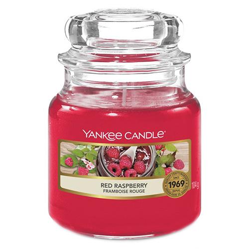 Svíčka ve skleněné dóze Yankee Candle Červená malina, 104 g