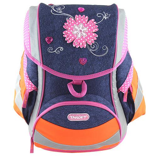 Školní aktovka Target Jeans, růžový květ - reflexní, modrá