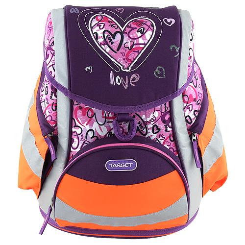 Školní aktovka Target Srdce - reflexní, fialová