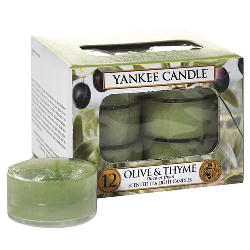 Svíčky čajové Yankee Candle Olivy a tymián, 12 ks