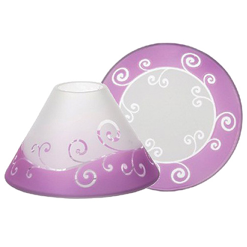 Dárková sada Yankee Candle Malý talířek + stínítko, fialovo-bílá se vzorem