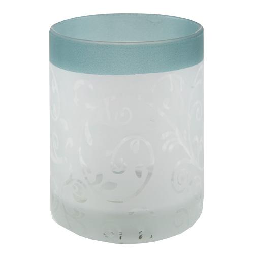 Svícen Yankee Candle Skleněný, tyrkysově-bílý, na votivní svíčku