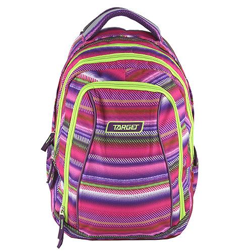 Školní batoh 2v1 Target Barevné pruhy, růžovo - zelený