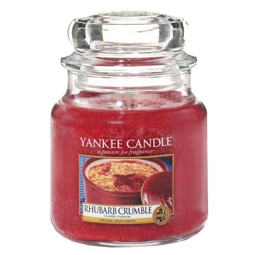 Svíčka ve skleněné dóze Yankee Candle Rebarborový crumble, 410 g
