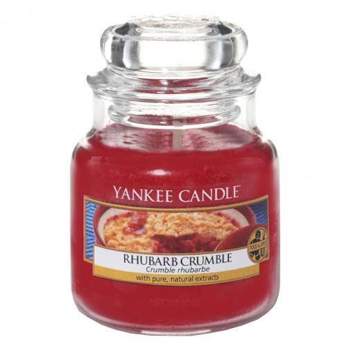 Svíčka ve skleněné dóze Yankee Candle Rebarborový crumble, 104 g