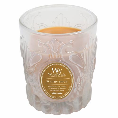 Svíčka skleněná váza WoodWick Smyslné koření, 198.4 g