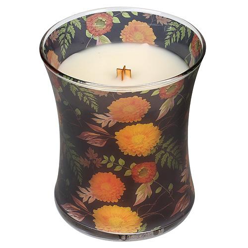 Svíčka oválná váza WoodWick Chryzantéma, 275 g
