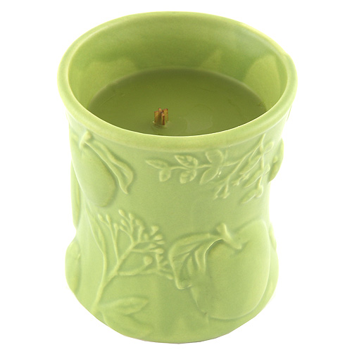 Svíčka keramická oválná váza WoodWick Košík jablek, 142 g