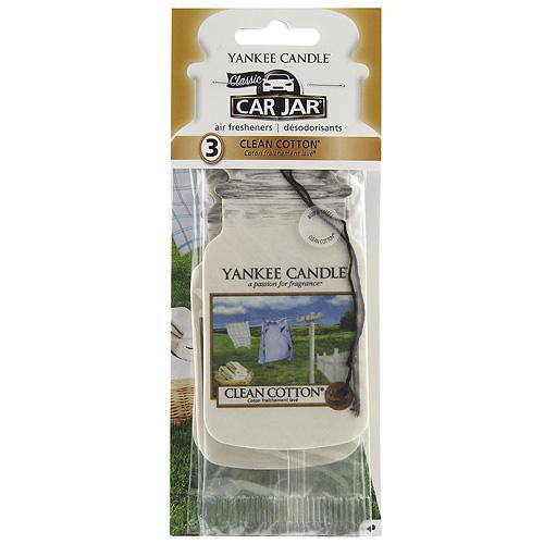 Osvěžovače do auta Yankee Candle Čistá bavlna, 3x papírová visačka