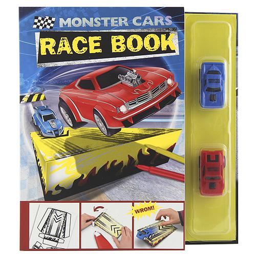 Papírová skládačka Monster Cars Závodní kniha, červené a modré autíčko