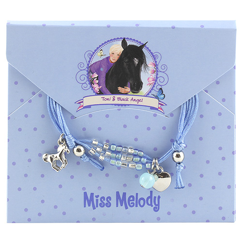 Náramek s přívěsky Miss Melody ASST Toni a Black Angel, modrý