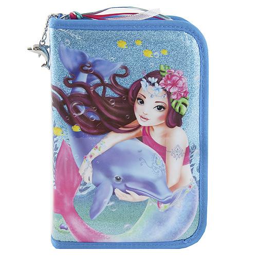 Školní penál s výbavou Top Model S mořskou pannou a delfínem, barva tyrkysová